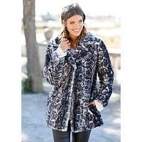 Blancheporte Kabát s potlačou a imitáciou kožušiny sivá