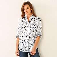 Blancheporte Košeľová blúzka s minimalistickým vzorom biela/modrá