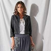 Blancheporte Krátka džínsová bunda s 3/4 rukávmi sivá