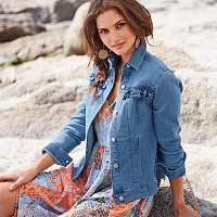 Blancheporte Krátka džínsová bunda s volánmi zapratá modrá