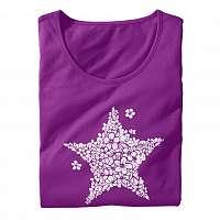 Blancheporte Krátka nočná košeľa, potlač hviezdičiek purpurová