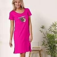 Blancheporte Krátka nočná košeľa s motívom leňochodov fuksia