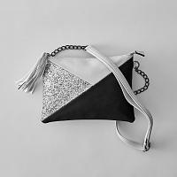 Blancheporte Listová kabelka v grafickom dizajne strieborná/čierna