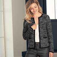 Blancheporte Melírovaná bunda mohérová na dotyk čierna melír