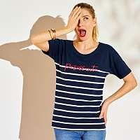 Blancheporte Námornícke tričko s potlačou textu nám. modrá/biela