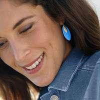 Blancheporte Náušnice lístky modrá/striebristá