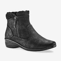 Blancheporte Nízke čižmy s nepravou kožušinou a zipsom, čierna čierna