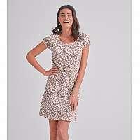 Blancheporte Nočná bavlnená košeľa s leopardím vzorom ružová/hnedosivá