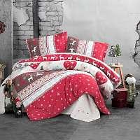 Blancheporte Obliečky flanel Santa červená/hnedá/biela obliečka na vankúšikx40cm