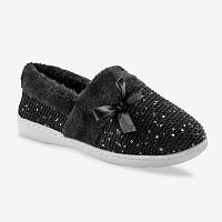 Blancheporte Pletené členkové papuče s umelou kožušinou čierna