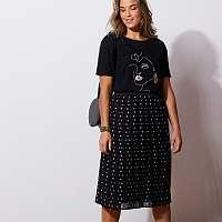 Blancheporte Plisovaná sukňa, potlač bodiek čierna/biela