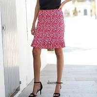 Blancheporte Plisovaná sukňa s potlačou červená