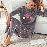 Blancheporte Polar pyžamo, hebké na dotyk sivá/ružová