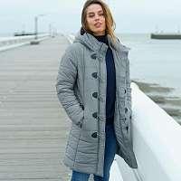 Blancheporte Polodlhá bunda s gombíkmi a očkami, strieborno sivá sivá