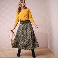 Blancheporte Polodlhá sukňa s minimalistickým vzorom khaki 58