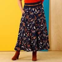 Blancheporte Polodlhá sukňa s potlačou nám.modrá/karamelová 56