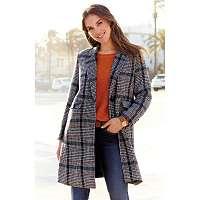 Blancheporte Polodlhý kabát s potlačou kocky modrá