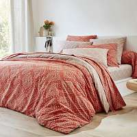 Blancheporte Posteľná súprava Saro, polyester-bavlna terakota/béžová obliečka na prikr. 140x200cm