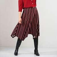 Blancheporte Pruhovaná asymetrická sukňa čierna/bordo 58