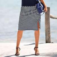 Blancheporte Pruhovaná sukňa temnemodrá/biela