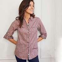Blancheporte Prúžkovaná košeľová blúzka ružové drevo