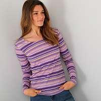 Blancheporte Prúžkované tričko s dlhými rukávmi fialová/lila