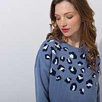 Blancheporte Pulóver, dizajn zvieracej srsti modrá