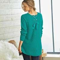 Blancheporte Pulóver mohérový na dotyk smaragdová