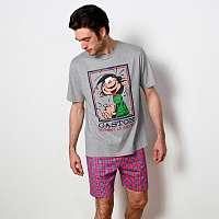 Blancheporte Pyžamo Gaston Lagaffe s krátkymi rukávmi a šortkami sivý melír 137/146 (4XL)