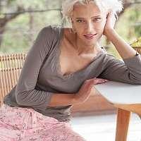 Blancheporte Pyžamo s 3/4 rukávmi, potlač sivá/ružová