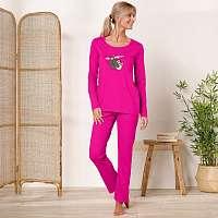 Blancheporte Pyžamo s dlhými rukávmi a nohavicami, motív leňochodov fuksia