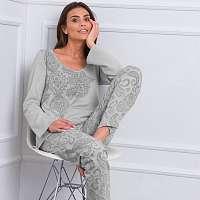 Blancheporte Pyžamo s dlhými rukávmi a potlačou kašmíru sivá