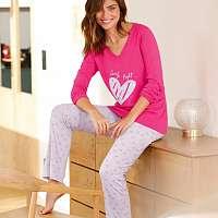 Blancheporte Pyžamo s dlhými rukávmi a potlačou sŕdc fuksia