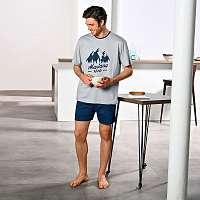 Blancheporte Pyžamo s krátkymi rukávmi a šortkami, Montana sivá/nám. modrá 127/136 (3XL)
