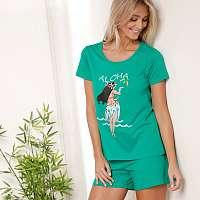 Blancheporte Pyžamo s krátkymi rukávmi a šortkami, motív Tahiti Aloha mätová