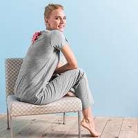 Blancheporte Pyžamo s krátkymi rukávmi, vzadu šnurovanie sivý melír