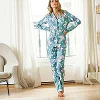 Blancheporte Pyžamo s kvetinovou potlačou světlá tyrkysová