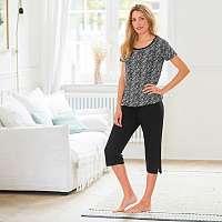 Blancheporte Pyžamo s potlačou, korzárske nohavice čierna/biela