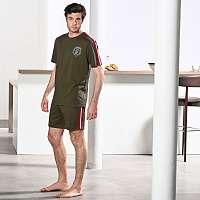 Blancheporte Pyžamo s potlačou, krátkymi rukávmi a šortkami khaki 127/136 (3XL)