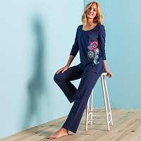 Blancheporte Pyžamo s potlačou roziet, bavlna nám.modrá