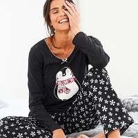 Blancheporte Pyžamo s potlačou tučniaka, úplet a flanel čierna
