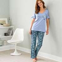 Blancheporte Pyžamo s volánmi a krátkymi rukávmi modrá