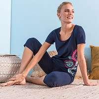 Blancheporte Pyžamo sa 3/4 nohavicami a potlačou roziet, bavlna nám.modrá