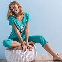 Blancheporte Pyžamo sa 3/4 nohavicami, bavlna, potlač lemury smaragdová
