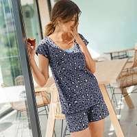 Blancheporte Pyžamo so šortkami a krátkymi rukávmi, leopardí vzor modrosivá