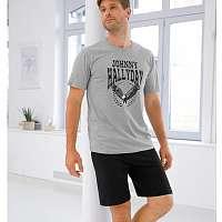 Blancheporte Pyžamo so šortkami Johnny Hallyday sivý melír/čierna 77/86 (S)