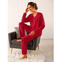 Blancheporte Pyžamo z polar fleecu s výšivkou čerešňová