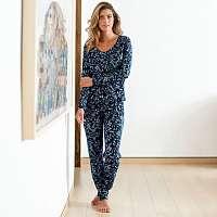 Blancheporte Pyžamové nohavice s kvetinovou potlačou námornická modrá