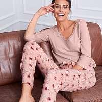 Blancheporte Pyžamové nohavice s kvetinovým vzorom ružová