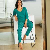 Blancheporte Pyžamové nohavice s potlačou Ava smaragdová